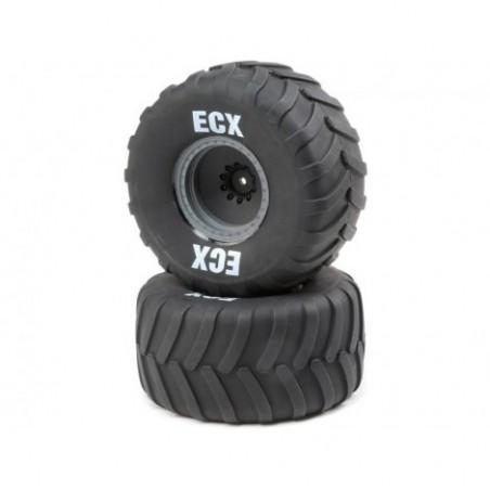 ECX Premounted Tire, Gray Wheel (2): Axe MT